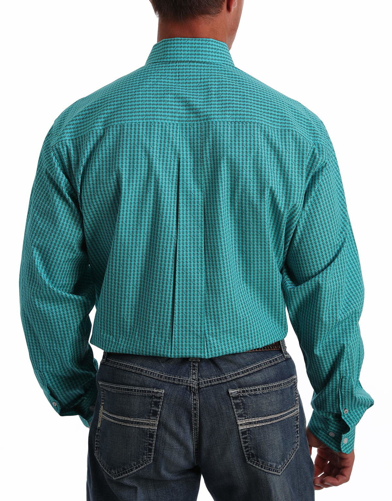 Cinch Mens Cinch Long Sleeve Turquoise Dollar Sign Print Shirt