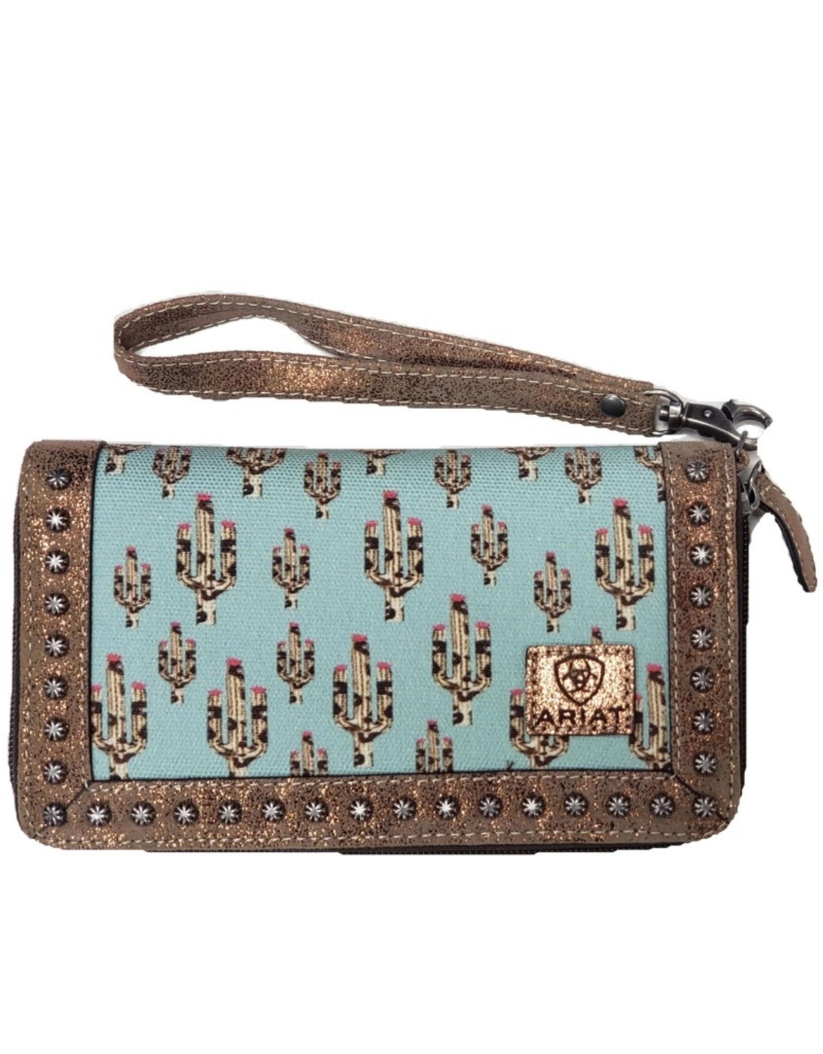 Ariat Ariat Matching Cruiser Wallet Light Turquoise Leopard Cactus Print