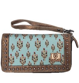 Ariat Ariat Matching Cruiser Wallet Light Turquoise Leopard Cactus Print