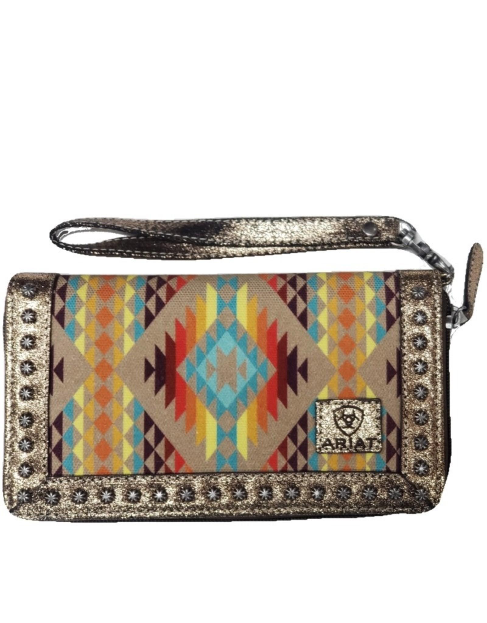Ariat Ariat Matching Cruiser Wallet Tan Southwest Aztec Print