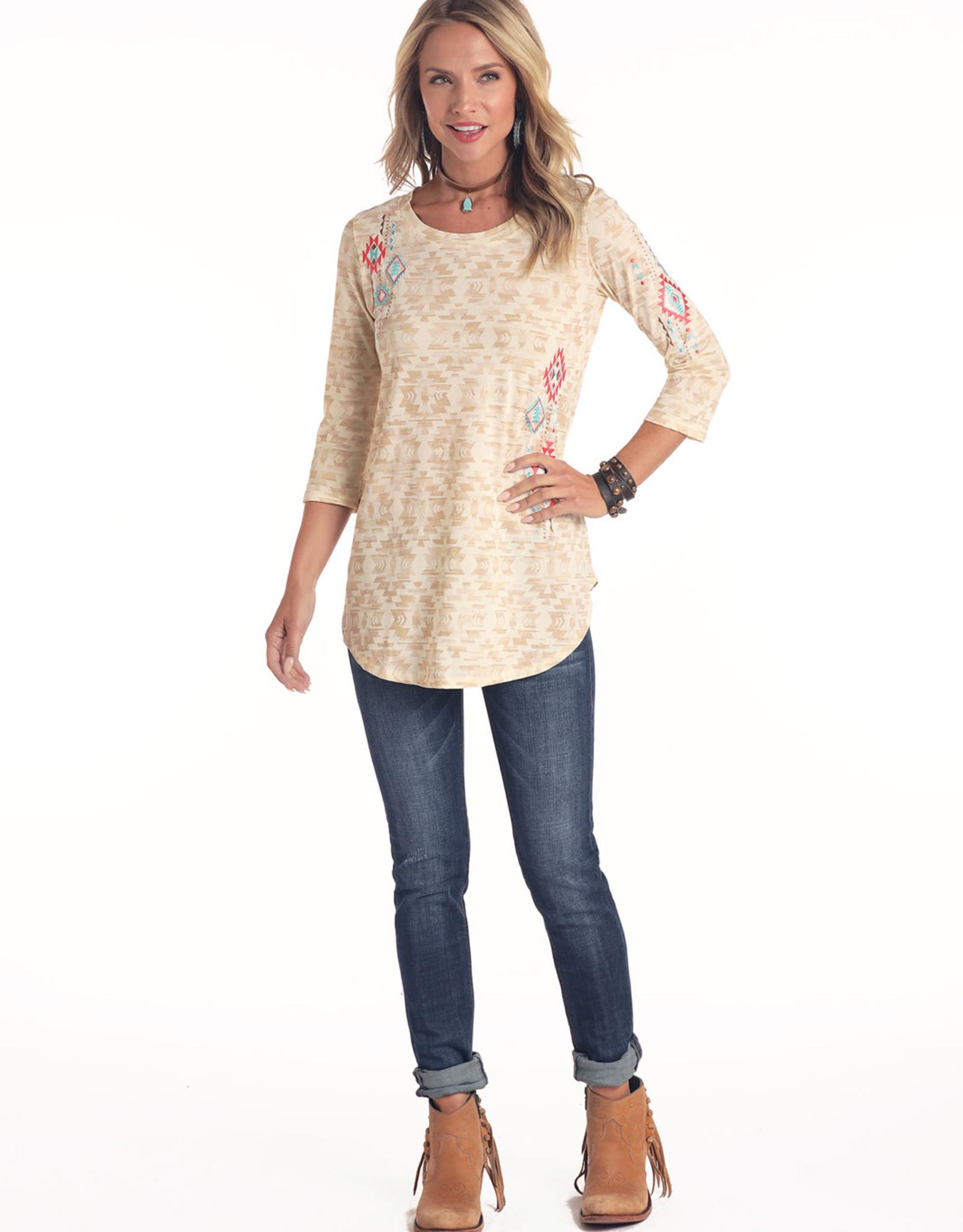 Womens Panhandle Cream and Tan Aztec Shirt