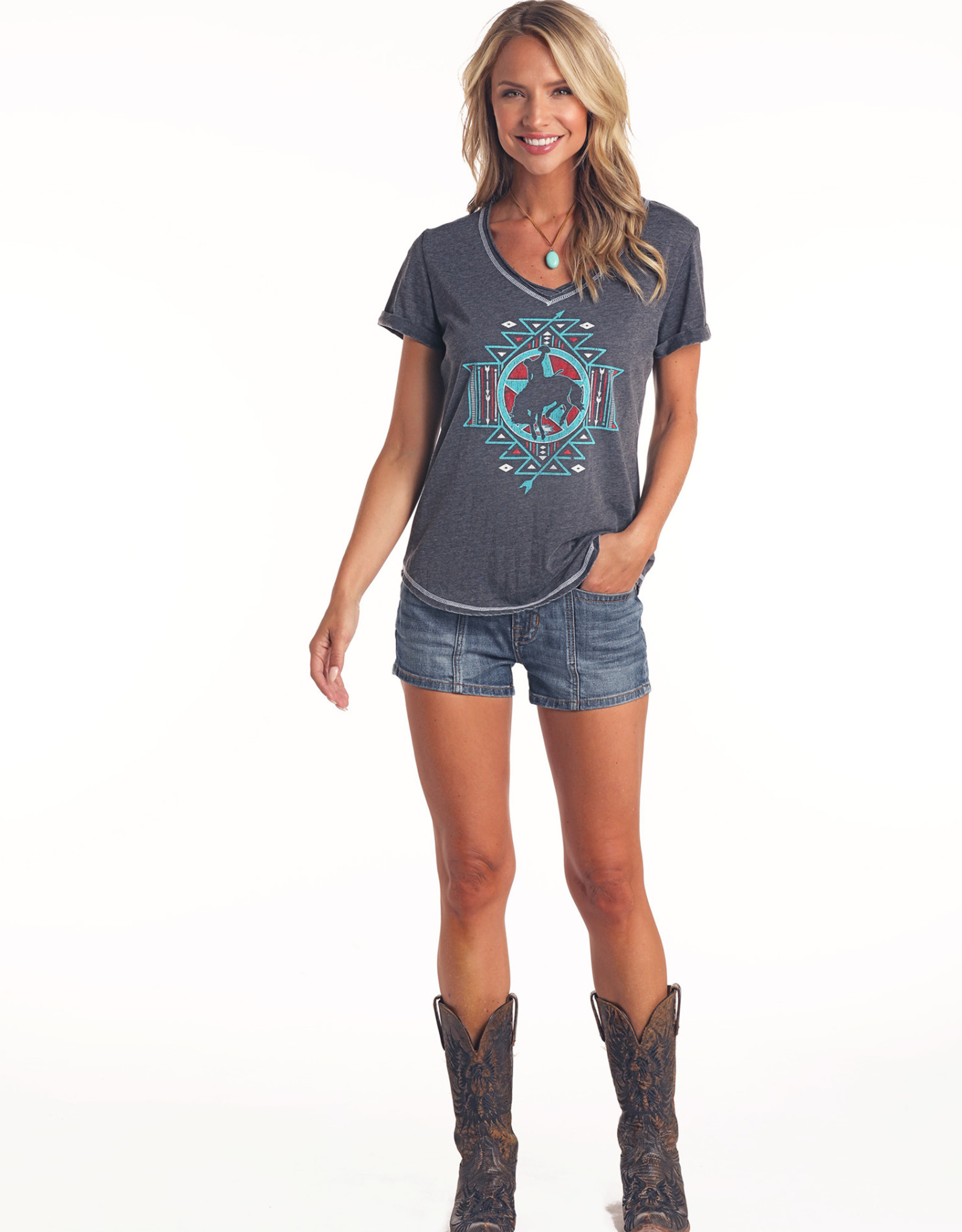 Womens Panhandle Bucking Horse and Arrows Tshirt