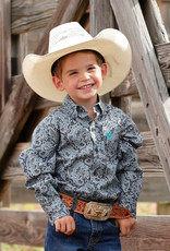 Cinch Infant Boys Cinch Long Sleeve Charcoal Grey and Turquoise Paisley Button Down Shirt