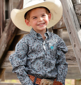 Cinch Toddler Boys Cinch Long Sleeve Charcoal Grey Turquoise Paisley Button Shirt