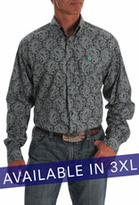 Cinch Mens Cinch Long Sleeve Charcoal Grey Turquoise Paisley Print Shirt