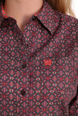 Cinch WOMEN'S BROWN, CORAL, ORCHID AND GREEN GEOMETRIC PRINT BUTTON-DOWN SHIRT