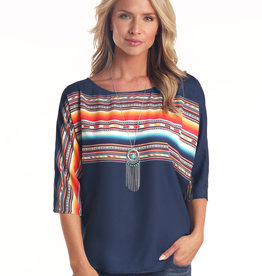 Panhandle Slim Womens Navy Bright Serape Aztec Blouse