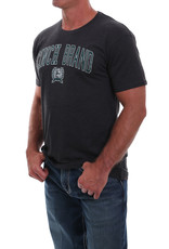 Cinch Mens Cinch Short Sleeve T Shirt Heather Black w/Green Lettering