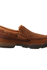 Mens Slip On Leather Weave Twisted X Driving Mocs