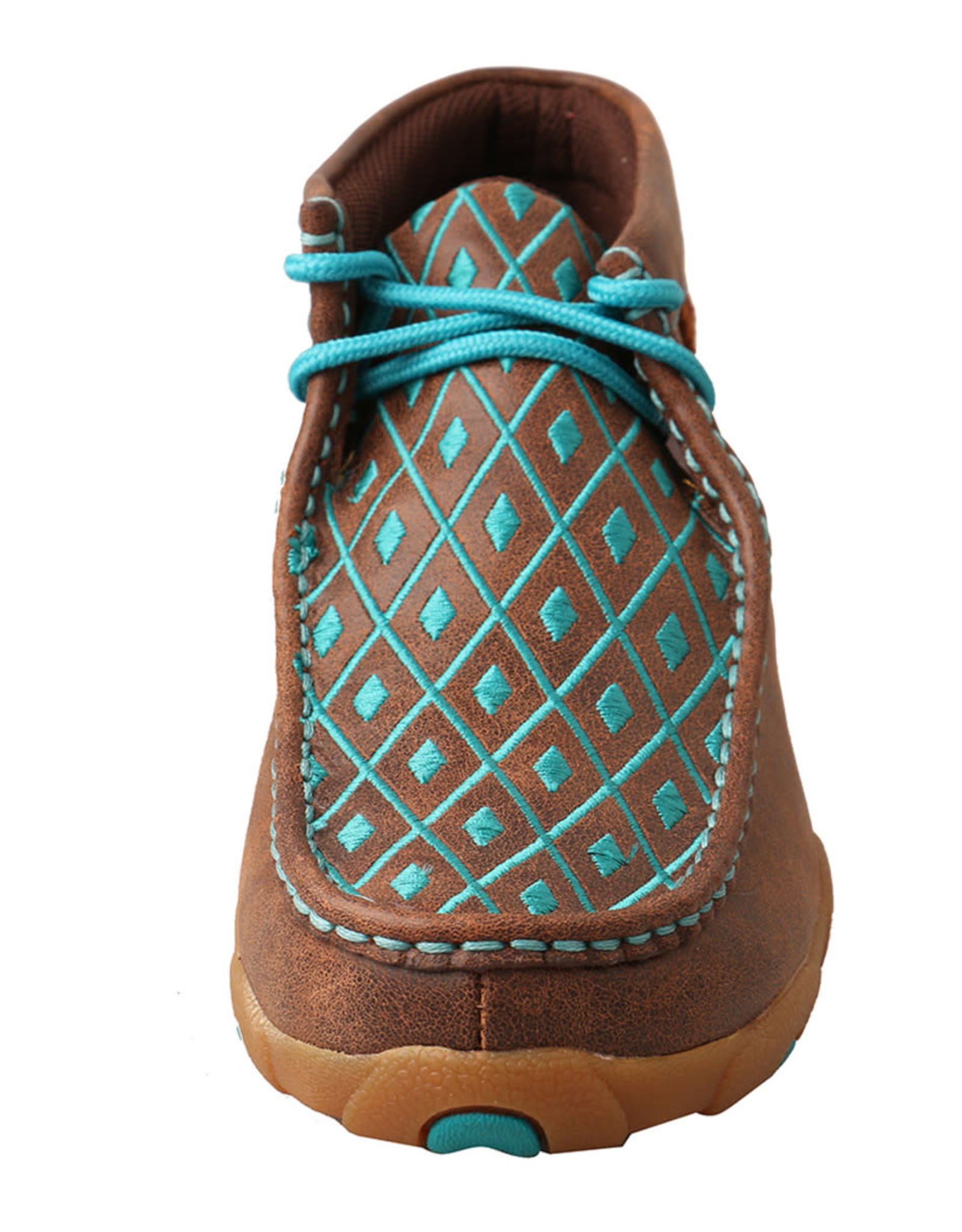 Womens Twisted X Chukka Driving Moc Brown Teal Embroidery