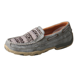 Womens Twisted X Slip On Driving Moc Grey Aztec