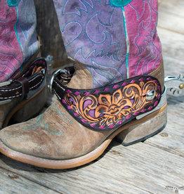 Reinsman Spur Straps Purple Buckstitch Floral Tooled