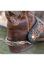 Reinsman Spur Straps Turquoise Buckstitch Floral Tooled