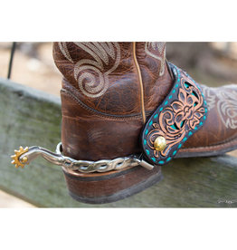 Reinsman Spur Straps Turquoise Buckstitch Floral Tooled