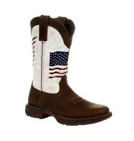 Durango Lady Rebel Durango Womens White Distress Embroidered USA Flag Western Boot