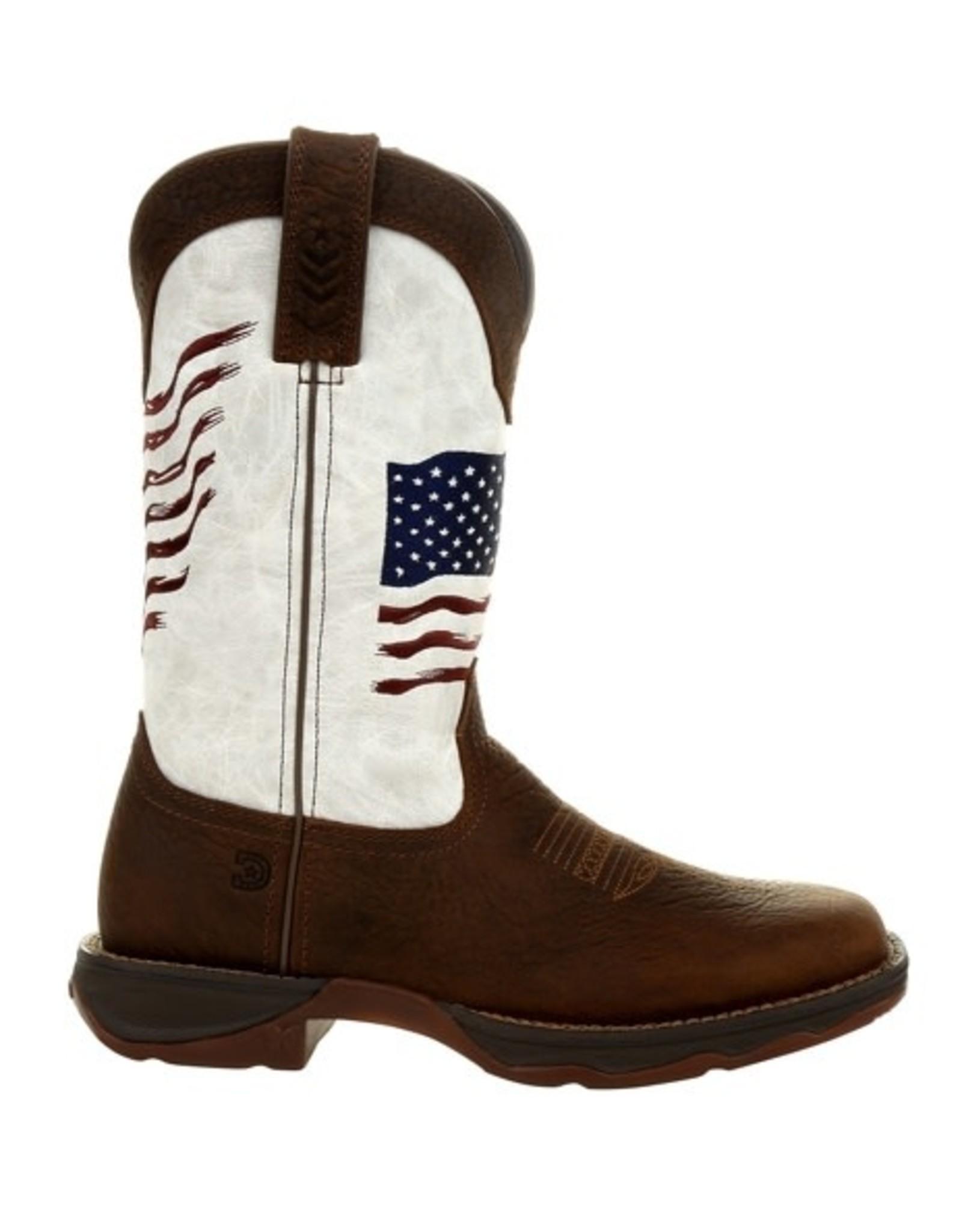 Durango Lady Rebel Durango Womens White Distress Embroidered USA Flag Western Boot