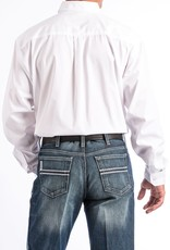Cinch Mens Cinch Western Long Sleeve Solid White Button Down Shirt