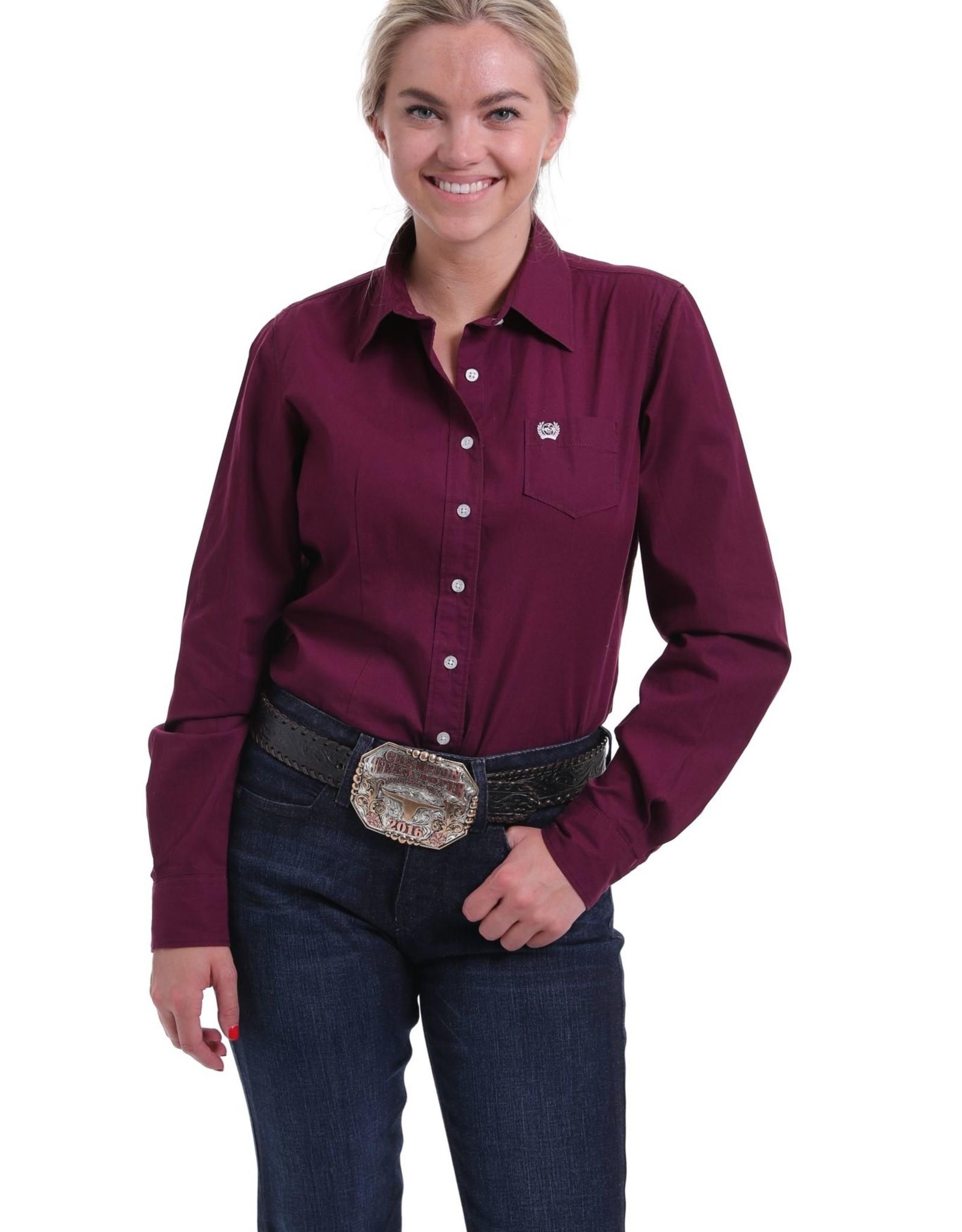 Cinch Womens Cinch Solid Burgundy Button Down Western Shirt