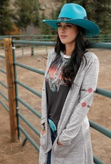 Cruel Girl Heather Cream Sweater Knit Duster Bucking Horse and Arrows