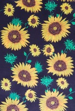 Black with Yellow Sunflowers 100% Silk Wild Rag 33x33