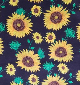 Black with Yellow Sunflowers 100% Silk Wild Rag 33x33
