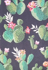Black with Green Cactus 100% Silk Wild Rag 33x33