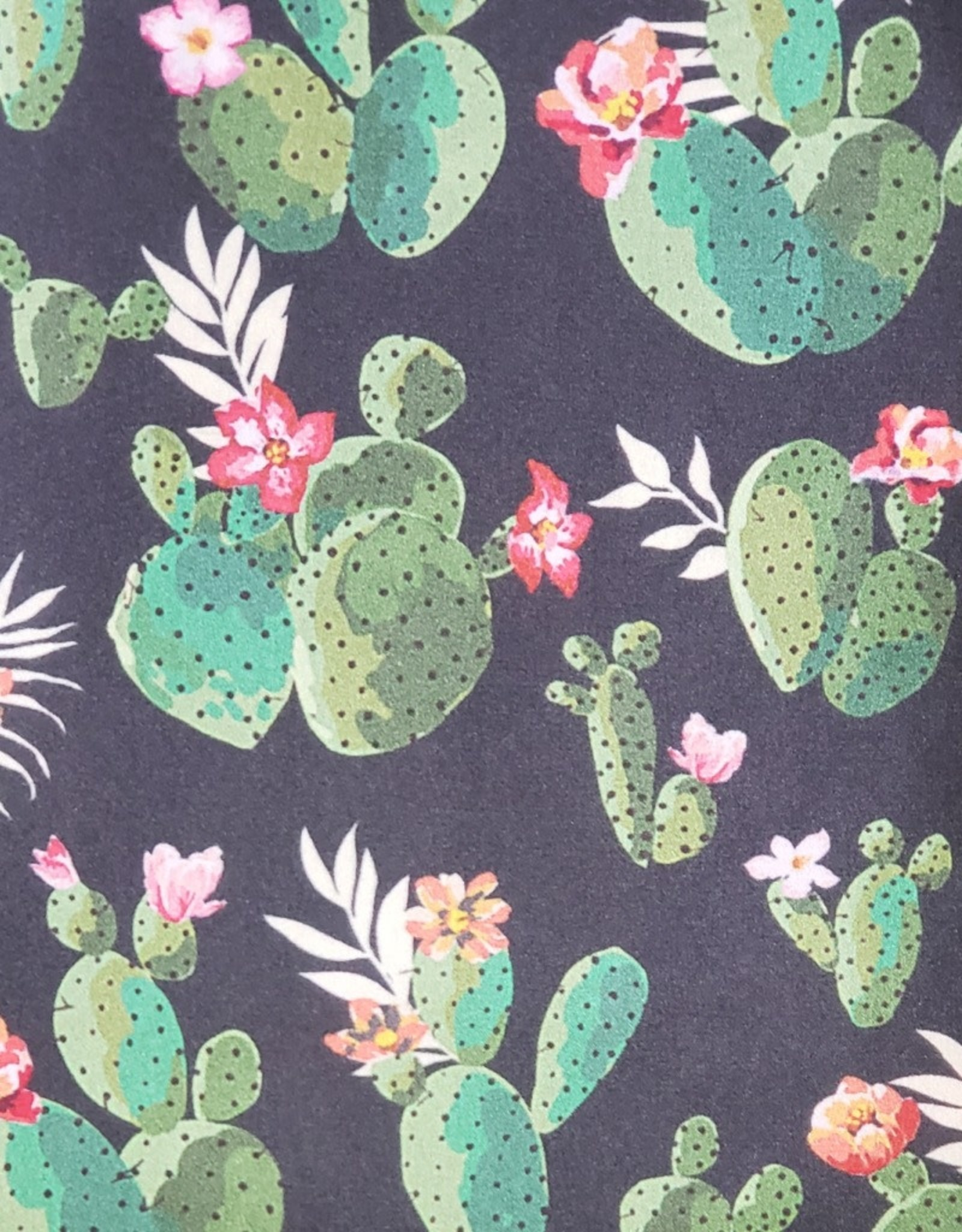 Black with Green Cactus 100% Silk Wild Rag 33x33