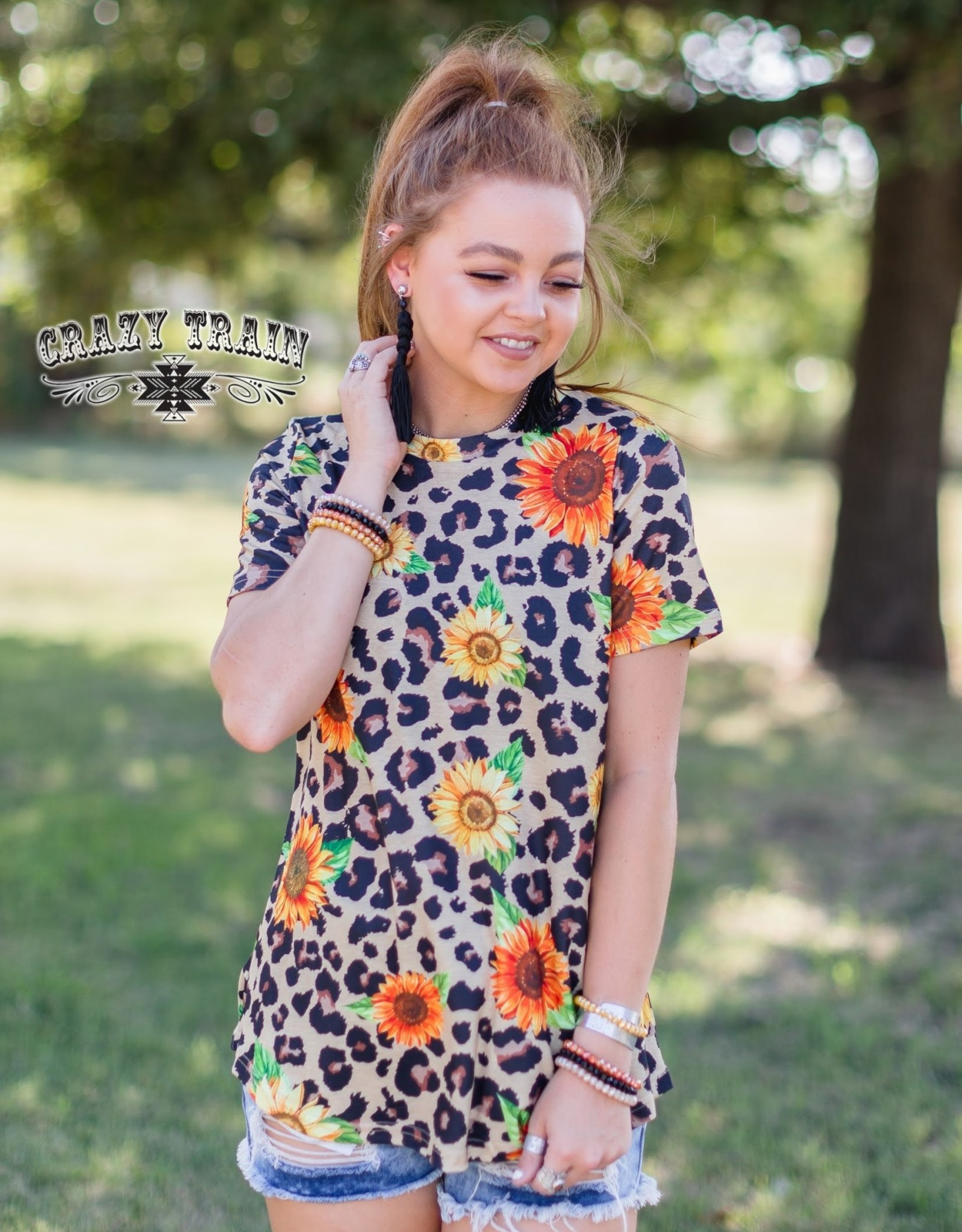 Crazy Train Crazy Train Sangria Sunrise Leopard Sunflower T-Shirt