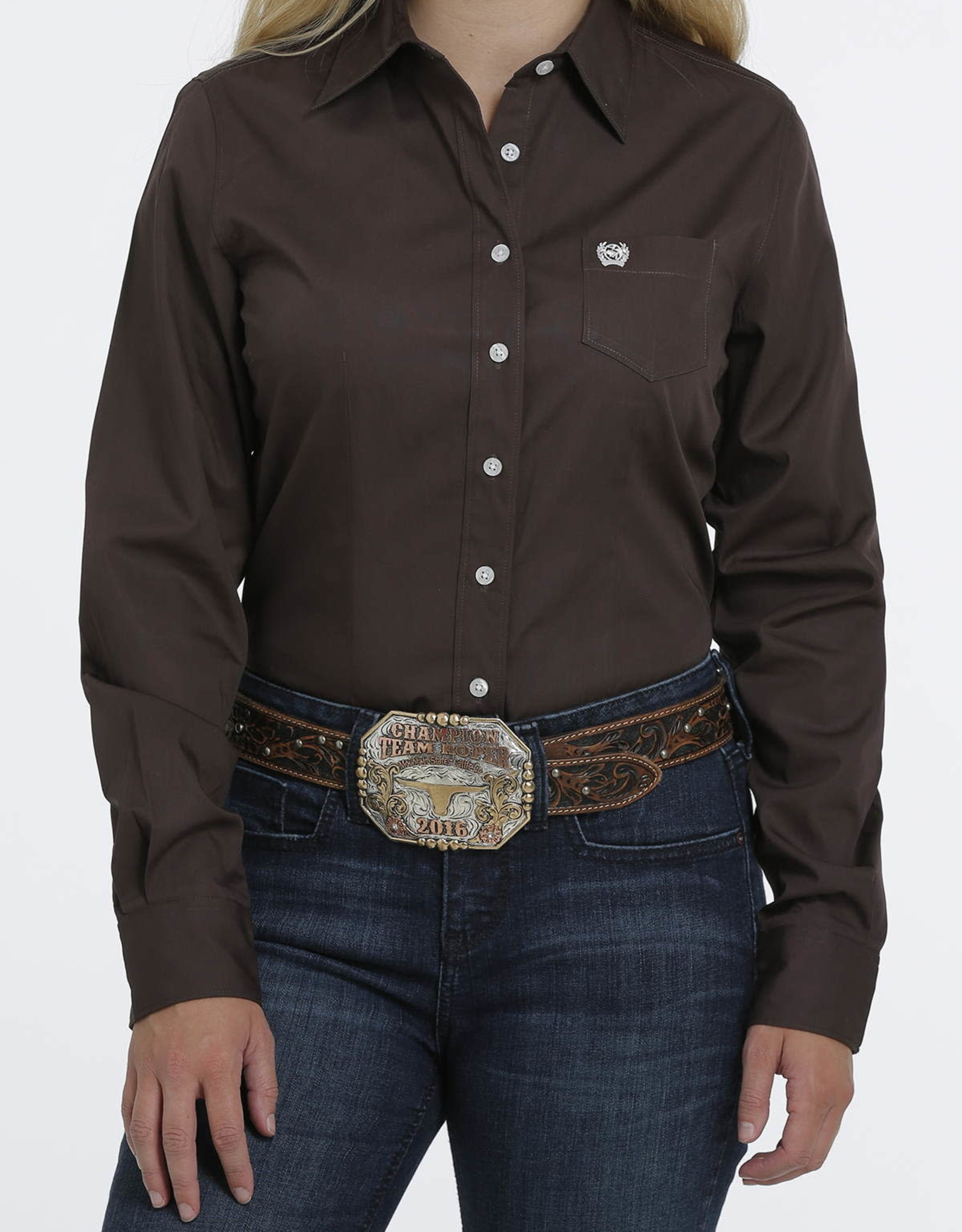 Cinch Cinch Womens Solid Chocolate Brown Western Button Down Shirt