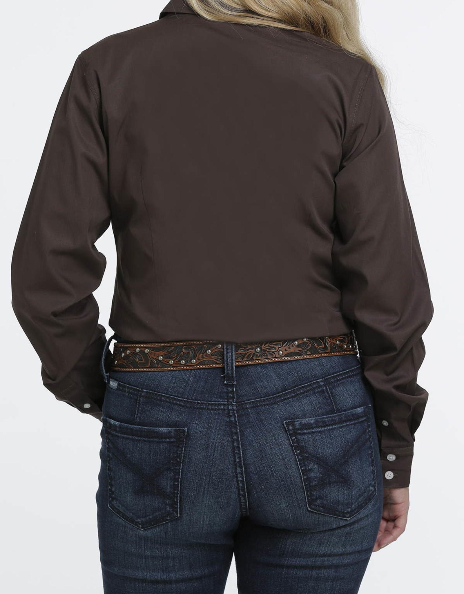 Cinch Cinch Womens Solid Chocolate Brown Western Button Down Shirt