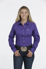 Cinch Cinch Womens Solid Purple Western Button Shirt