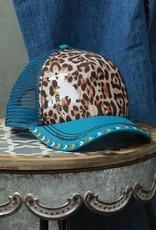 Cruel Girl Turquoise Leopard Bucking Horse Mesh Trucker Ball Cap