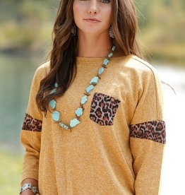 Womens Cruel Girl Mustard Gold Knit Top with Leopard Trim