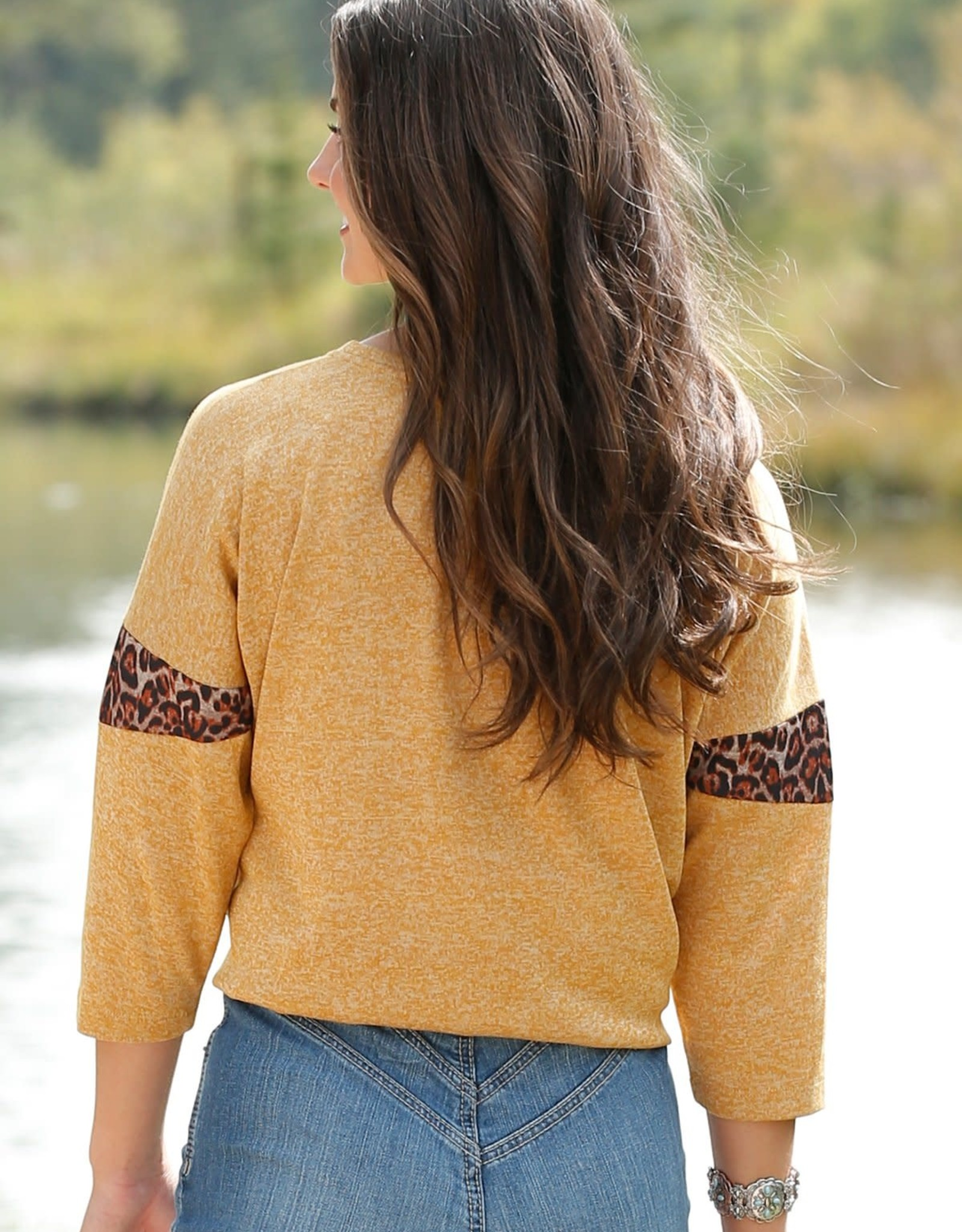Womens Cruel Girl Mustard Gold Knit Top with Leopard Trim