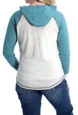 Cinch Womens Cinch Medallion Logo Cream Teal Hooded T shirt