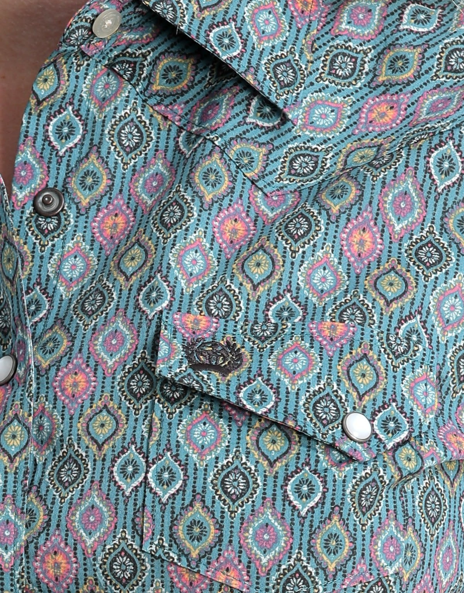 Cinch Womens Cinch Blue Medallion Print Snap Western Shirt