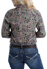 Cinch Womens Cinch Chocolate Paisley Print Snap Western Shirt