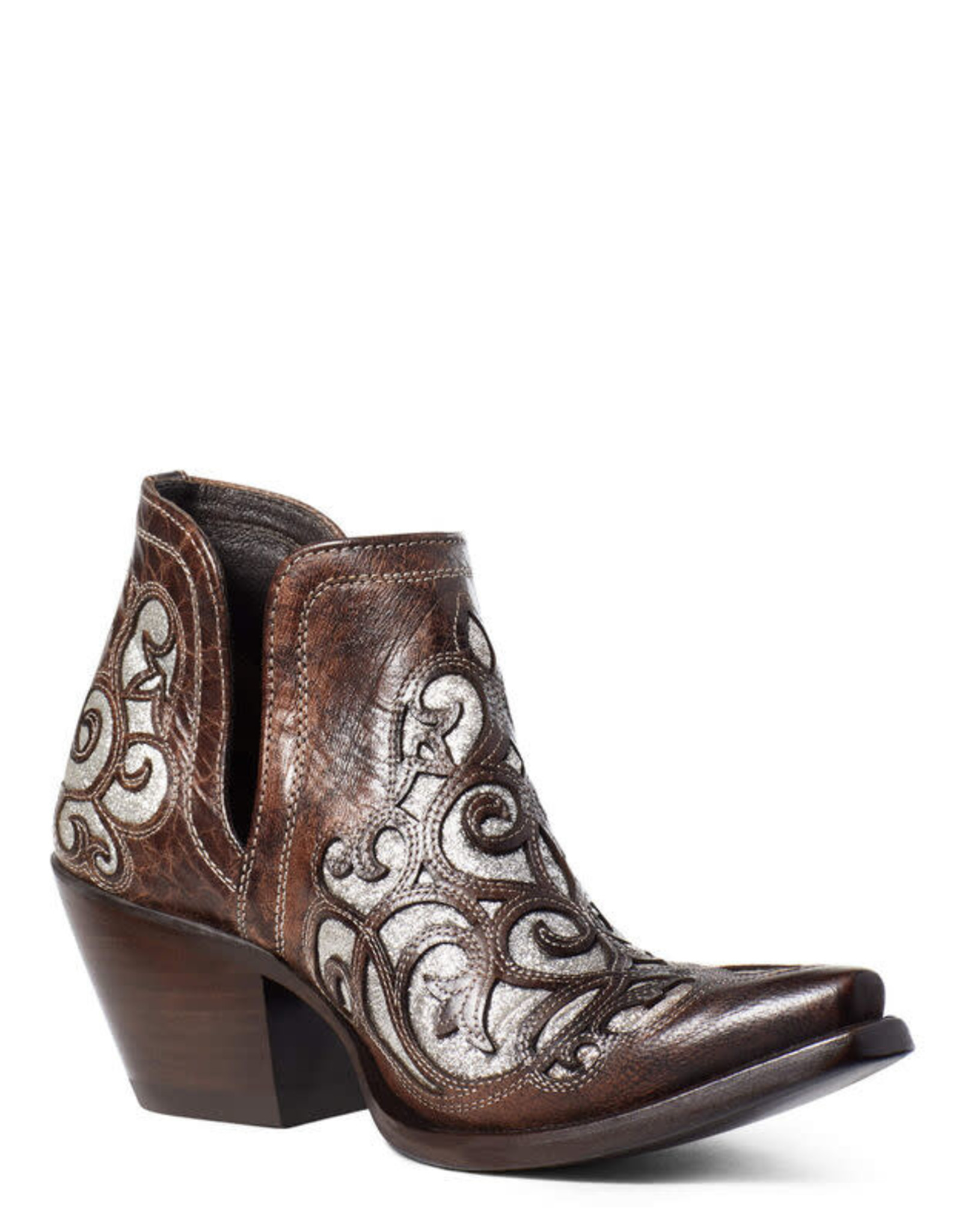 Ariat Womens Ariat Silver Glitter Inlay Brown Short Dixon Western Cowboy Boot