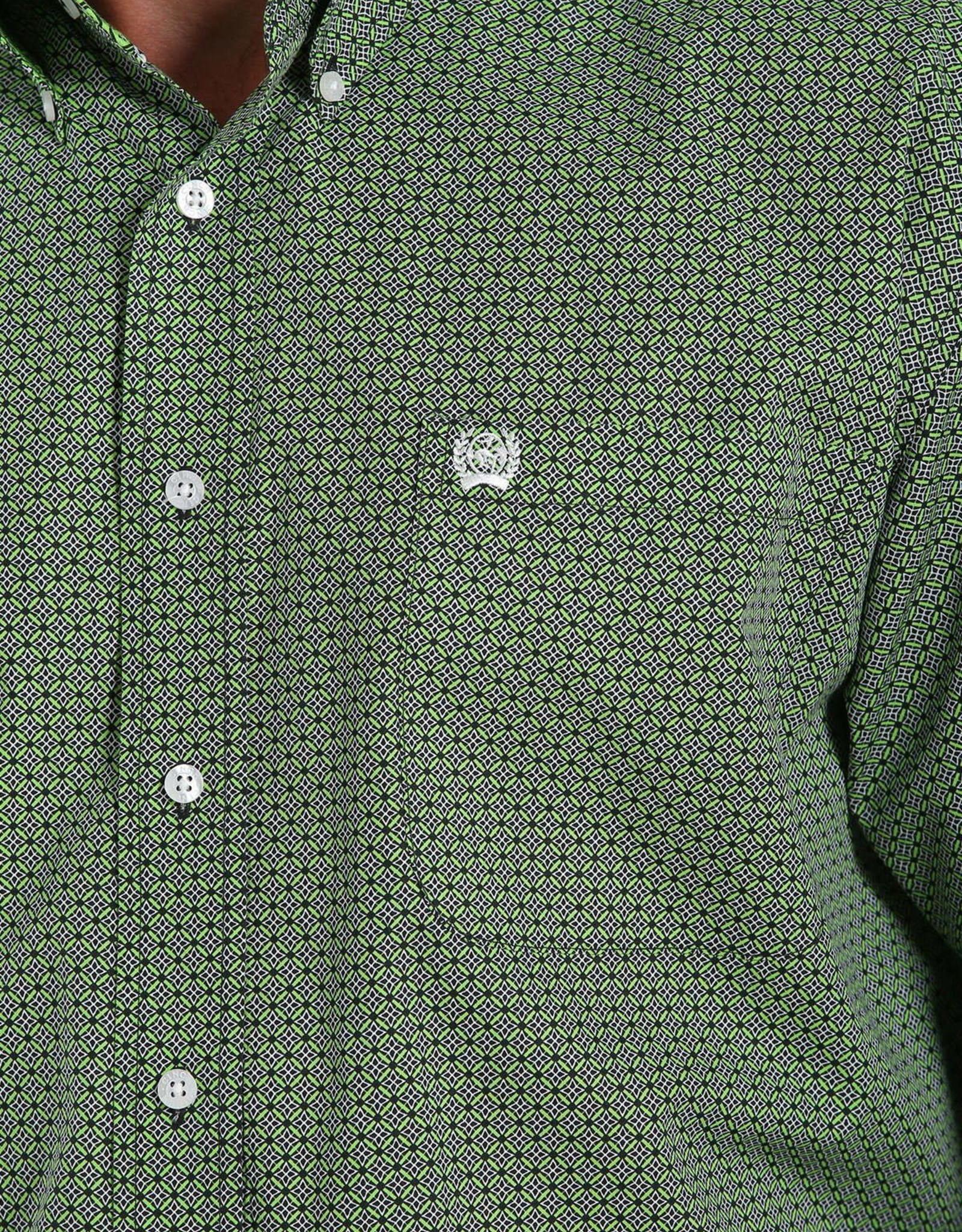 Cinch Cinch Classic Mens Long Sleeve Black Lime Print Button Western Shirt
