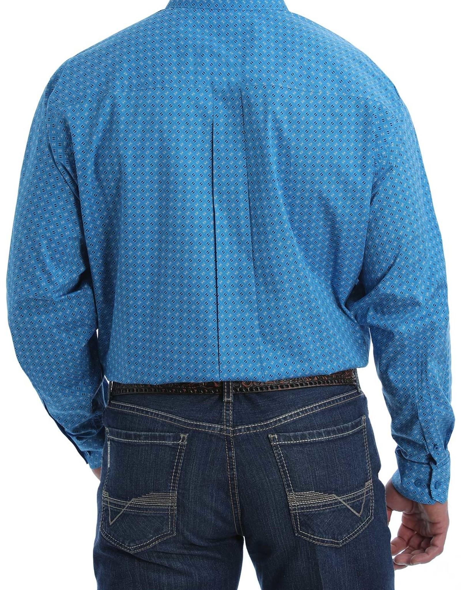 Cinch Mens Cinch Classic Light Blue Black Print Long Sleeve Button Western Shirt