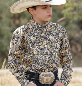 Cinch Cinch Boys Navy Mustard Yellow Paisley Button Western Shirt