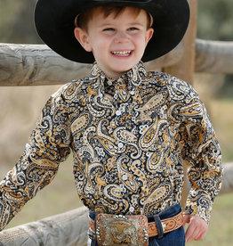 Cinch Toddler Cinch Long Sleeve Navy Mustard Yellow Paisley Button Western Shirt