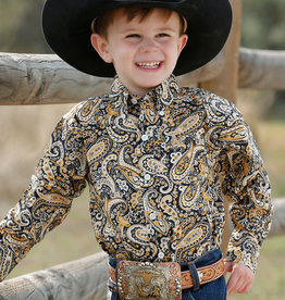Cinch Infant Boys Cinch Long Sleeve Cinch Long Sleeve Navy Mustard Yellow Paisley Button Western Shirt