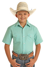 Boys Panhandle Select Short Sleeve Emerald Green Snap Western Shirt