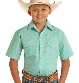 Boys Panhandle Select Short Sleeve Emerald Green Snap Western Shirt