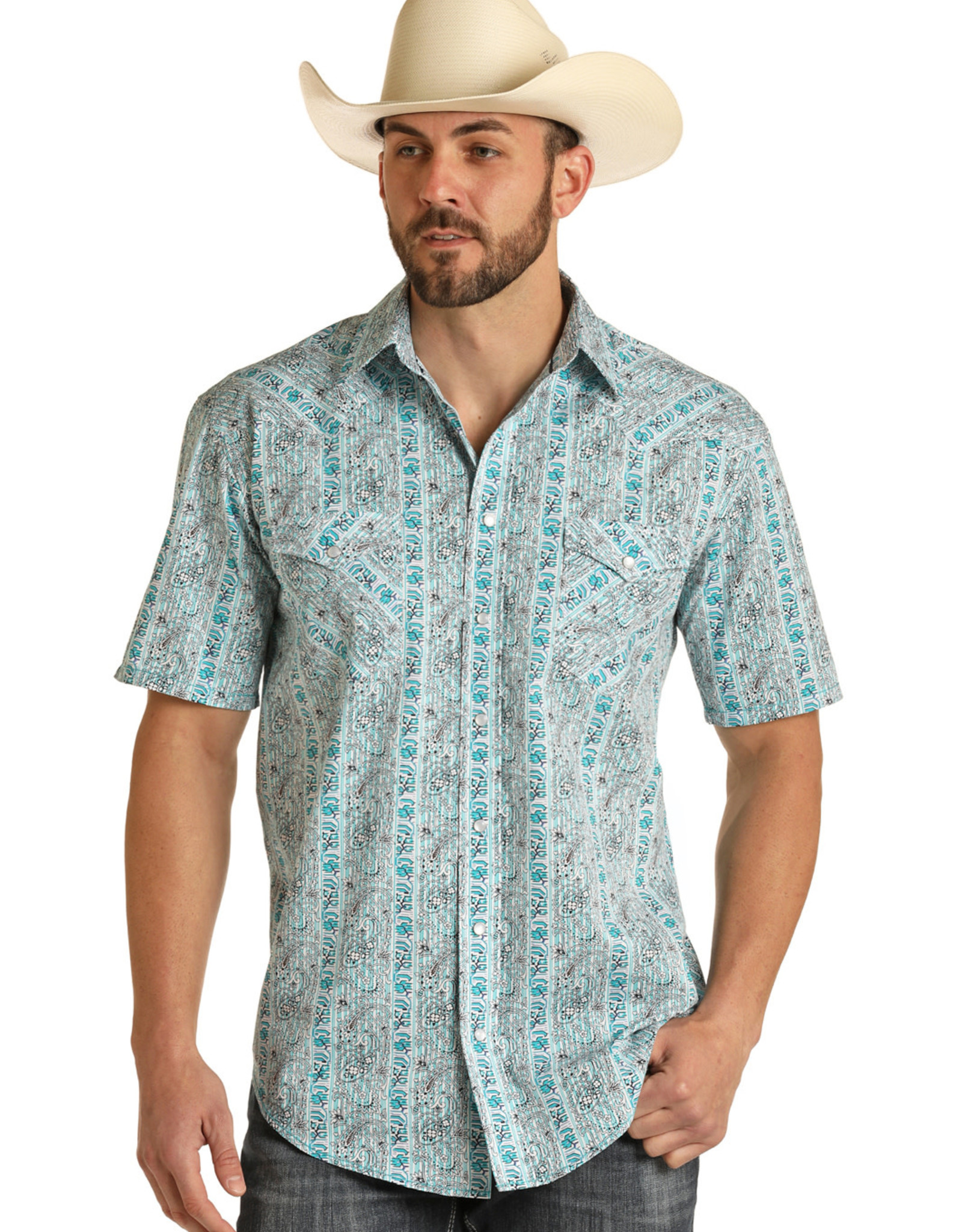 Mens Panhandle Rough Stock Turquoise Paisley Print Short Sleeve Snap Western Shirt