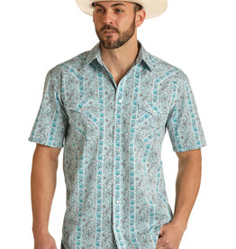Mens Panhandle Rough Stock Turquoise Paisley Print Short Sleeve Snap Western Shirt