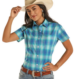 Womens Panhandle Rough Stock Turquoise Blue Plaid  Short Sleeve Button Western Shirt