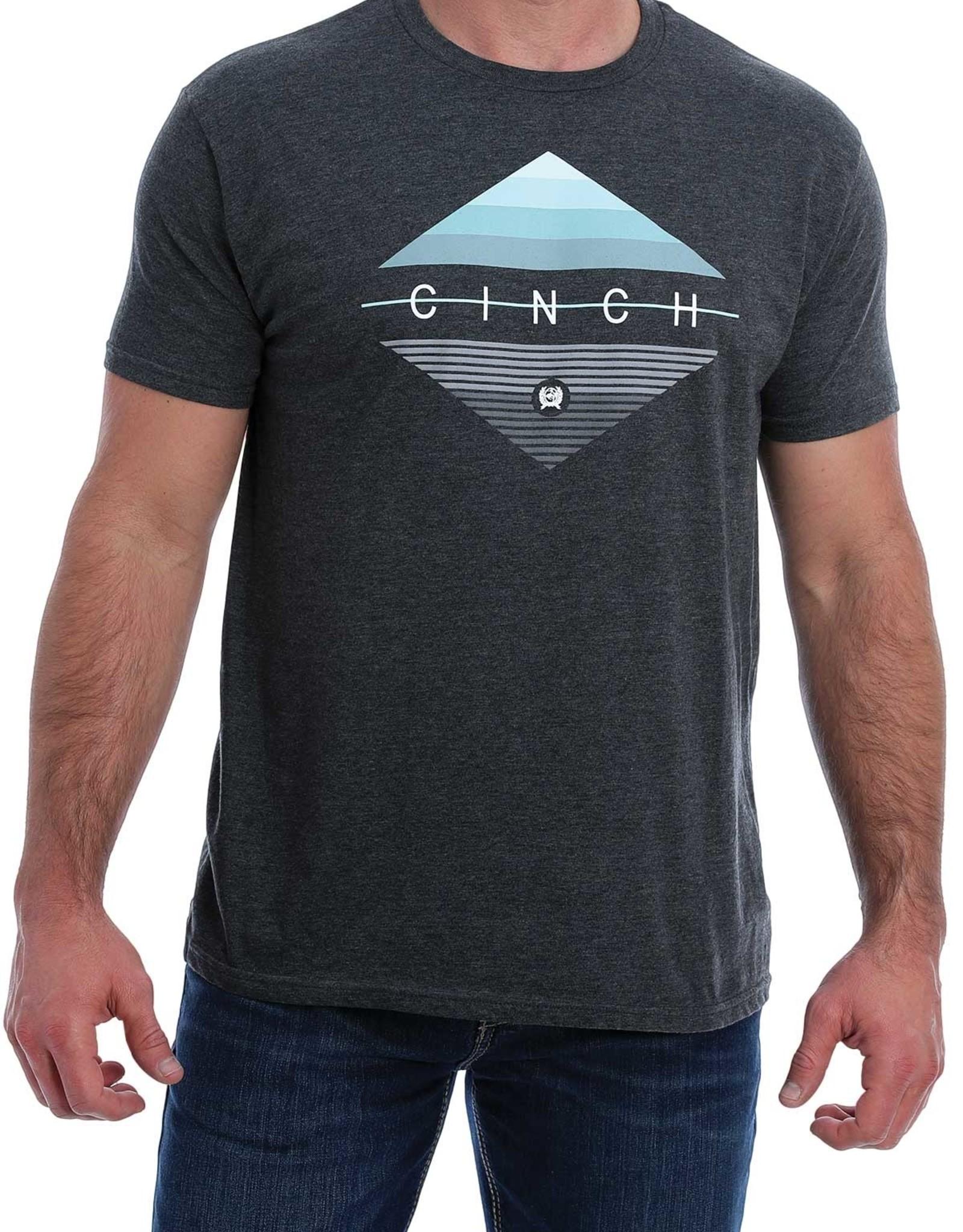 Cinch Mens Cinch Short Sleeve T Shirt Heather Charcoal Grey Logo