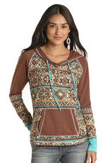 Womens Panhandle Brown Turquoise Aztec Print Hooded Shirt
